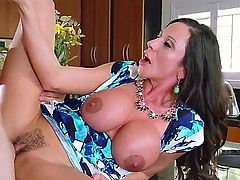Elegant super sexy MILF Ariella Ferrera with huge tits seduces her daughter's boyfriend to satisfy her sexual desires. Busty mom gets her hot bush heavily fucked in the kitchen!