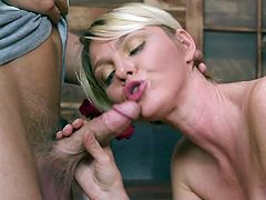 Spoiled mommy Marie McCray provides her stepson with a great yum-yum blowjob