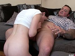 Spoiled chick in short skirt Amber Nevada is fucked by one horny tattooed guy