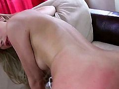 Blonde bombshell with a tight arse, Karina, is about to try out her butthole with a strong, white, dong. Her first time anal is as spectacular as any other first time anal video