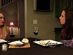 AJ and Casey are two classy lesbians eating pussy. These babes will start it off after dinner and they won't stop until one of them has an earth shaking orgasm
