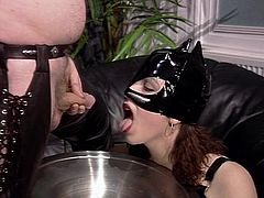 Cat woman drinks piss from the source