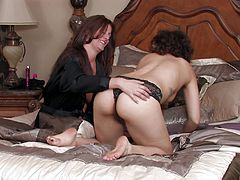 Alicia Silver and Bianca Stone enjoy a sex game with a dildo