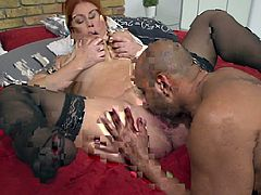 This redhead busty mature intends to try her first black cock. Let's join them and I'm sure it will be really unforgettable... After she sucks on his cock, she spreads wide, so he can tongue her tasty pussy... Hot!