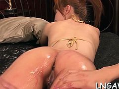 Boy spreads oriental ass cheeks showing her cunt, doggystyle