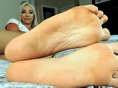 Sexy blond showing off her feet