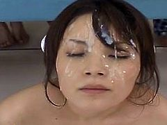 Covered in cum - Bikkake on a Japanese chick