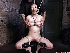 BDSM sub restrained for fingering before maledom uses electro