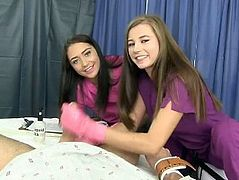 2 Beautiful Young Nurses Milking Patient's Full Balls