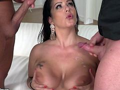 Whore wife Anissa Jolie is cheating on her husband with a duo of perverted dudes