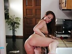 Oral sex in the kitchen