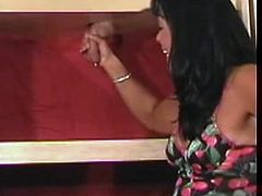 Horizontal gloryhole handjob latina mom