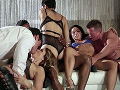 Honey Gold and Jessica Drake join a hot orgy with a bunch of men
