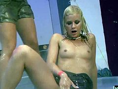 Some girls get tired of watching a few others getting teamfucked in the center of the dancefloor, and begin helpfully offering happy ending oral action and pert upturned tits to catch every splatter and drip from overheated pricks.