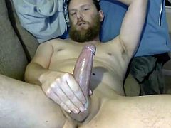 bearded dad jerking off