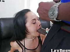 Latina babe Kristina Rose worships big black cock