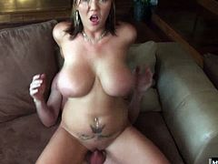 Who are going to be sitting on their couch, making out with each other until their husbands get an erection and want a blowjob from the other guys wife Next, the brunette with the huge boobs shows off her big booty, while riding the glasses wearing hubbies rod for a swallowed facial cumshot