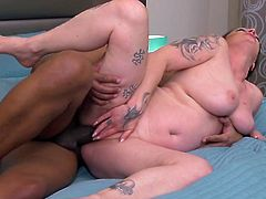 Mature lady Adrienne only likes to put very big black cocks in her old vagina. She gets rammed hard in her pussy by this huge and muscular ebony hunk. She wants a creampie inside her vagina from the bbc.