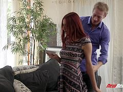 April Snow grabs Ryan Mclane's dick having some dirty things in mind