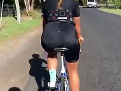 Women in spandex bike