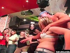 They are women off the streets that decided to go to a Party Hardcore strip event. Some of the ladies may have heard what goes on and that our strippers take GREAT liberties and expect to cum before the night is over but none of the sex is staged or planned. The blowjob and pussy licking that you see in this first scene just happened when these bitches went crazy for cock