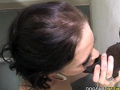 Angelina's ears have been stuffed with tales of big black cocks and she had to experience it for herself. She visits a gloryhole and finally she sucks and fucks an anonymous BBC...