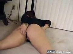 A naughty bbw milf with massive hips and ass models a skimpy spandex before getting pounded by her male partner.