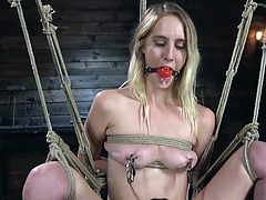 This hot blonde babe, Cadence Lux, gets deeply fingered, while hanging in the middle of a dark dungeon, tightly bound with tough ropes. The master attached the metal clamps to her sensitive nipples and...