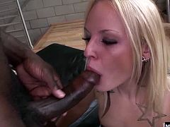 Tyrell starts kissing her on the shoulder and whips is big chocolate rod out for her to service, she gets right down to her knees and slurps his dark penis down her throat inch by inch. Shes got a loose pussy that he doesnt bother with for long, so that butt hole is the next stop for his dick, and it happens to be so tight that he dumps his load right in it.
