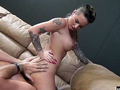 Christy Mack, stops by for a visit with Porno Dan and his buddies, and soon enough shes trading oral sex with the men, in this hot scene from Immoral Productionss New Girl In Town 9, which ends with her getting a pearl necklace of cum across her big tits.