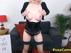 She is wearing corset and stockings, her curly blonde hair is even better! She has sexy Irish accent and she loves cosplay because of her crazy personality and kinky is her other name! She always fuck the hell out of my dick and no slut can replace her!
