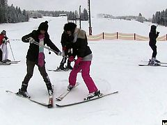 Masturbate and fuck These four hotties planned a little ski trip for themselves that had them hitting the slopes during the day and hitting the sheets at night for hot foursome lesbian sex