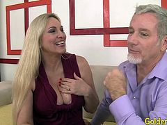 Mature blonde woman and a guy kiss with each other She gives him a nice blowjob And he licks her mature pussy Then she takes the dick in her pussy and gets pounded good He cums in her mouth