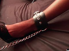 This horny dude found her and brougt her back to his bed. She loves being tied to the bed as shoves his dick into her velvety white pussy.