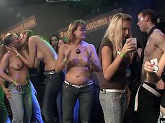 Experienced sluts who have been fucked in our past films got to wear the lime VIP bracelets that let them get to the front of the line for fucking and sucking