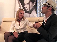 Kathia Nobili sits next to her boss on the leather office couch, giving him an upskirt while he reaches down into her soaking wet panties and begins to finger her clitoris and pussy. Before long, shes giving him a deepthroat blowjob, until he rips open the crotch on her pantyhose and rams his hard cock into her wet vagina, before trying out her asshole.