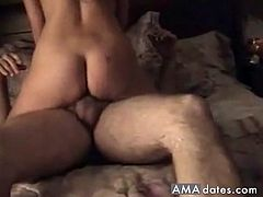 Perverted mature husband lets his old dad join in on the action as he gets sucked and fucked by his horny wife.