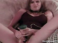Skinny milf masturbates before she bends over and takes a big cock in her fuck hole