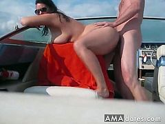 Horny nudist BBW with melon juggs and massive ass jerks and fucks her man's thick mushroom-headed cock while they are on a boat out in the open sea.