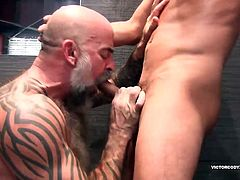 Nate Pierce and Cesar Xes have made their way into the shower and Cesar is going down on Nates cock. In fact, hes literally choking on it, as Nate holds on to the shower marble and feeds his stiff meat to him. Nate steps down from his perch, nails Cesar to the wall and shoves his raw cock into him. Cesar fucks him, in return, as they rhythmically bareback in the steam filled shower. Then Nate takes back that Latin ass and the two fuck all over the shower room, making good use of the bench. Fin