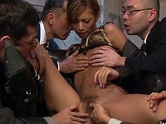 After she strokes and licks each in turn, the chic brunette strips off her designer lace lingerie and takes on a lusty gangbang of young hot legal eagles. Using mouth and pussy to satisfy each one, she lies back to feel hot sticky streams drenching her face and body.