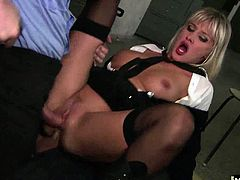She fights too much crime all day long to go without some sexual gratification, and who better to serve her with penis than the men she collects and brings back to the station. They are the bad boy type all the girls are after, and Nataly gets the luxury of ordering them around until they jizz in her mouth.