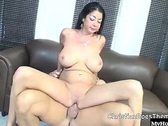 She loves cock and cant wait to get some in her mouth and in her tight bald pussy. Nadia hops on and starts the ride of her life. Her big tits flop up and down with every bounce she gives as she takes that cock deep. When Nadia is done fucking, she gets under her man to slurp up all the cum he can feed her