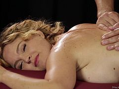 Steamy massage for Krissy Lynn and amazing sexy cowgirl ride