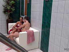 I had vacation in my own small spa center and I was chilling out close to the swimming pool. I wasn't alone, but I had nothing against it, with me was couple of beautiful people. I was enjoying their love and youth, but I was jealous a little bit, since the girl was unbelievably beautiful. Simply perfect in her tiny swimming suit! Well... I had nothing to lose, probably we will never see each other again, so I was straight - I showed my money and said what I want. Success! I can have her! My dick was hard already and the girl started to work on it. Yeah, lick it! I've paid for that! Let me enj