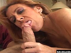 She pulls her panties to one side, he looks down in shock at her furry twat and thats when she finds out that he loves hairpie because he immediately goes muff diving, followed by some fucking, a blowjob and a cumshot to her groin.