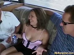 horny Milf picked up from street for her first extreme deepthroat anal bangvan bukkake fuck orgy