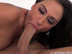 Luscious Claudia Valentine riding a dick after throating it