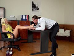 Kicking off her high heels to read the reports, her male secretary cant hold back. Between her tits and toes, and a dip in all her holes, he gives his sexy boss 110, bending her over her desk to get in even deeper