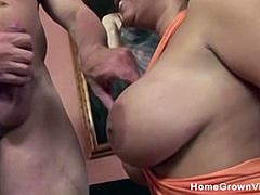 Sexy brunette milf with big tits gets her holes stretched by a big cock in this homemade sex video